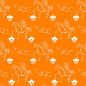 Vector seamless wedding pattern on orange background — Stock Vector