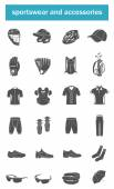 Vector set of icons sports accessories, clothes, shoes — Stock Vector