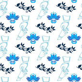 Vector seamless wedding pattern with blue flowers — Stock Vector
