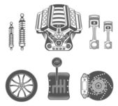 Vector set of spare parts for car — Stock Vector