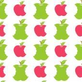 Seamless pattern with green and red apples — Stockvektor