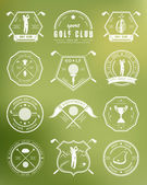 Vector set of logos and icons golf clubs — Stock Vector
