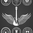 Set Badges of rock music and rock and roll — Stock Vector #68425681