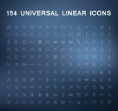 Set of Linear Icons on a blurry background — Stock Vector