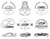 Set of vintage badges car club and garage — Stock Vector