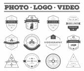 Vector set of badges Photography and Videography — Stock Vector