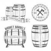 Vector set and logos cooperage workshops — Vettoriale Stock