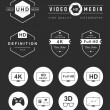 Set Icons and Badges TV and Video — Stock Vector #74997395