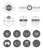 Set Icons and Badges TV and Video — Stock Vector