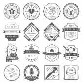 Set of vector logos and badges music — Stock Vector