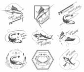 Big Set of Logos, Badges and Icons Spearfishing — Stock Vector