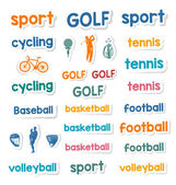 Set of Icons and Stickers Sports Games — Stock Vector