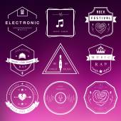 Vector Badges Rock, Rap, Classical and Disco Music — Stock Vector