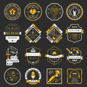 Set of vector logos and badges of music — Stock Vector
