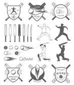 Set of Vector Badges Cricket — Stock Vector