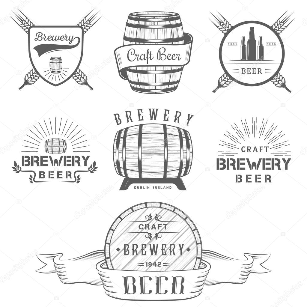 Vintage craft beer brewery logo and badge stock vector for Craft beer logo design