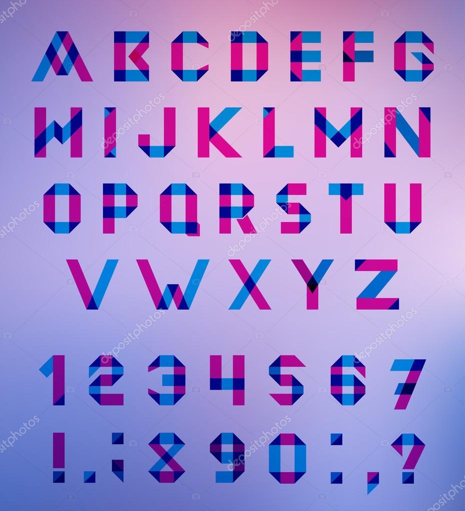 矢量字母设置乐趣几何字体.矢量字体与重叠描边和混合的颜色.