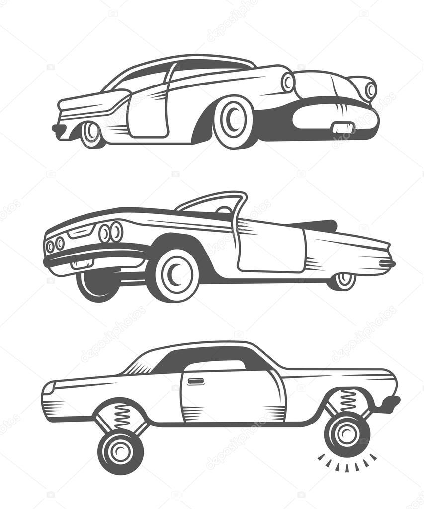 Baixar Definir O Vetor Vintage Carros Antigos Ilustrao De