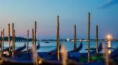Gondolas at sunrise in Venice, Italy, long exposure — Stock Photo