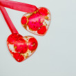 Two red hearts on white background. Valentine paper card. — Stock Photo #64978925