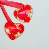 Two red hearts on white background. Valentine paper card. — Stock Photo