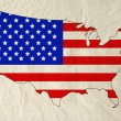 Flag of United States of America in USA map with old paper textu — Stock Photo #80589268
