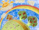食物中的儿童绘画风格的拼贴画 — 图库照片