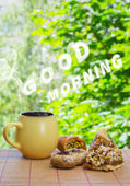 Good morning cloud massage.  Ceramic cup with hot drink and east — Stock Photo