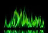 Green fire flames on a black — Stock Photo