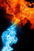 Red and blue fire on balck — Stock Photo