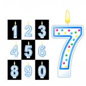Birthday numbers candles — Stock Vector