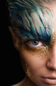 Young woman with fantasy make up. Close up — Stock Photo