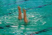 Exhibition of synchronized swimming — Stock Photo