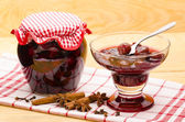 Cherry stewed fruit in the glass bowl — Stock Photo