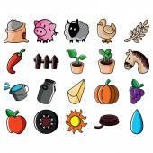 Jordbruks ikoner Set — Stockvektor