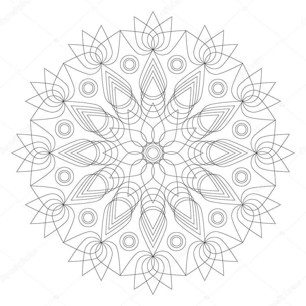 Noir et blanc rond forme de fleur de lotus mandala g om trique adulte livre coloriage image - Coloriage fleur geometrique ...