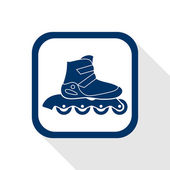 Square blue icon  inline roller skate boot with long shadow — Stock Vector