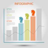 Vector striped bar growth graph - info chart template — Stock Vector