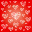 Vector red valentine festive pattern background with irregular white sketchy hearts - love card cover — Vecteur #59683929