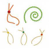 Vector set of five gold christmas gift strings shaped eyelet for tag with beads — Stok Vektör