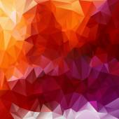 Vector polygonal background - triangular design in fiery  colors - red, pink, violet, purple, orange, yellow — Stock Vector