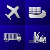 Set of export import icons - plane, cargo ship, truck and forklift - transport — Stock Vector