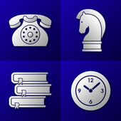 Set of business icons on blue background - old telephone, strategy horse, pile of 3 books and time clock — Stock Vector