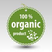 Vector green hundred percent organic product paper price tag label — Stock Vector