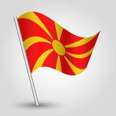 Vector waving simple triangle macedonian flag on pole — Stock Vector