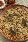 Mutton Gosht Biryani - A rice preparation with mutton and spices — Stock Photo