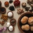 Ingredient mixture is a combination of spices, herbs and other condiments — Stock Photo #53518223