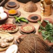 Ingredient mixture is a combination of spices, herbs and other condiments — Stock Photo #53518337
