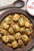 Kashmiri dum aloo made of baby potatoes cooked in yogurt gravy with spices — Stock Photo
