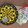 Dart, target, clock, and Money — Stock Photo #55362795